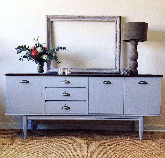 Beautifully refurbished sideboard painted in a light vinia stone with brushed chrome handles.