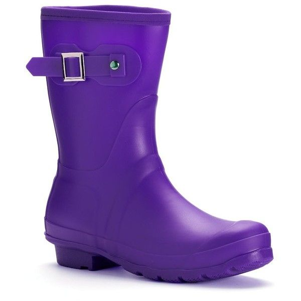 Itasca Rainey Lake Women's Waterproof Rain Boots ($55) ❤ liked on Polyvore featuring shoes, boots, purple, wellies boots, wellington boots, purple rain boots, waterproof wellington boots and patterned rain boots