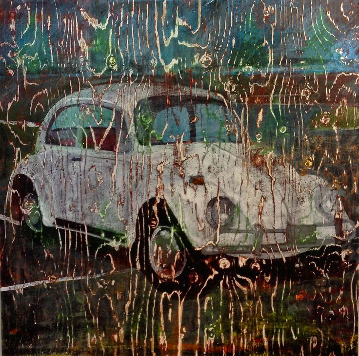 """Landscape and memory, painting on reclaimed plywood. 48""""x48"""" by brent granby"""