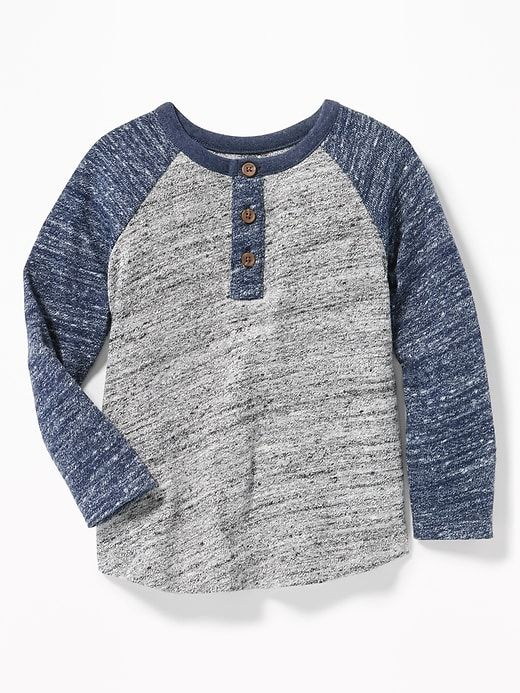 e6daf8a8d Old Navy Toddler Boys' Color-Blocked Sweater-Knit Henley Navy/Heather Gray  Regular Size 2T