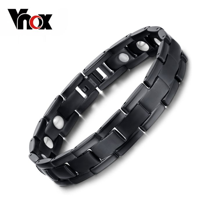 100% Titanium Health Bracelet Bangle For Men Jewelry Magnet Hand Chain Black Plated