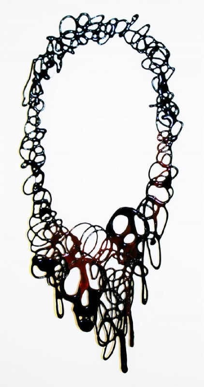 Clare Knox-Bentham  Black and Red 'DRIBBLE' necklace