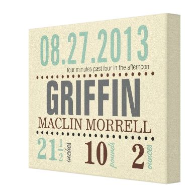 Baby's Birth Date Details Wrapped Canvas