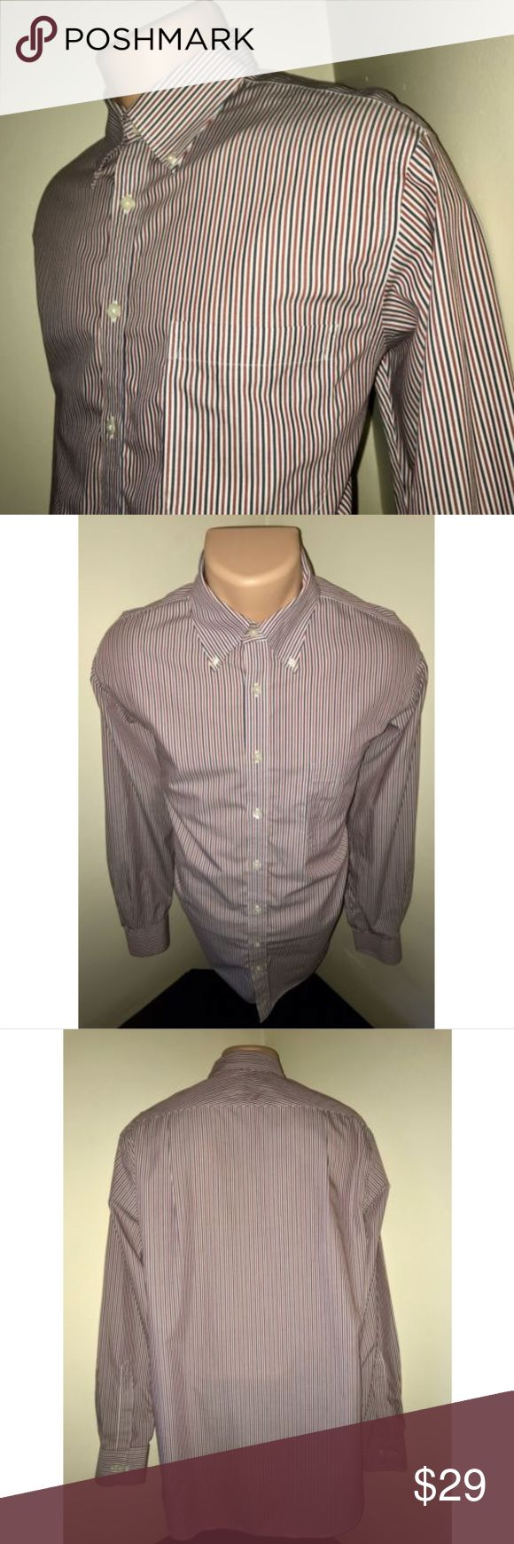 CHARLES TYRWHITT Jermyn Street Non Iron Shirt Sz L PLEASE NOTE MEASUREMENTS BELOW TO ENSURE PROPER FIT  Size: Large Color: Red, White & Blue Striped Tag Measurements- L Material: 100% Cotton Condition: Excellent Features: Long Sleeve, Comfortable and lightweight, Worn a few times, Button Down Collar, Standard cuffs Flaws: None  Measurements:  Chest - 23.5 inches  Shoulder - 19 inches  Sleeve - 26 inches  Length - 32.5 inches Charles Tyrwhitt Shirts Dress Shirts