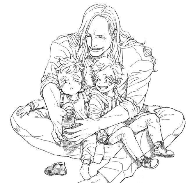 Little brothers and young man-father.
