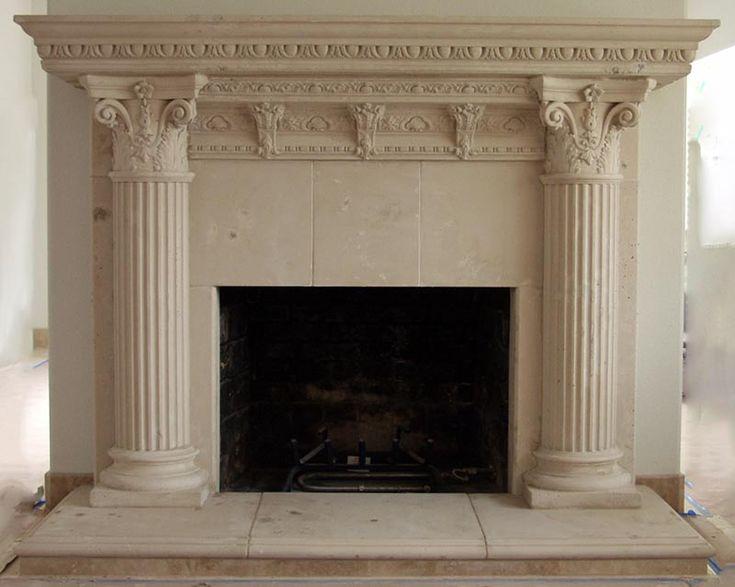 rhodes ancient fireplace mantel surround cast stone fireplace cast stone - Stone Fireplace Surround