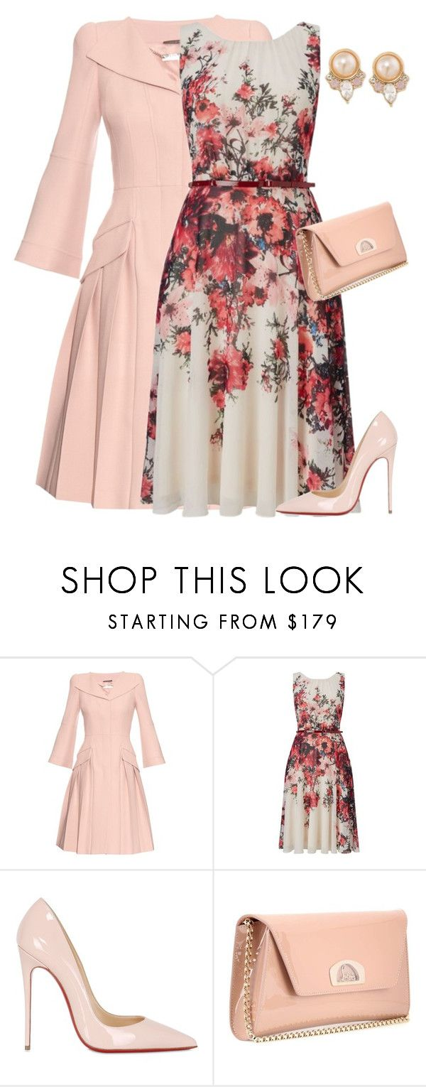 """""""outfit3759"""" by natalyag ❤ liked on Polyvore featuring Alexander McQueen, Phase Eight, Christian Louboutin and Carolee"""