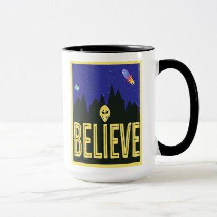 I Believe Cute Alien Design Mug - fun gifts funny diy customize personal