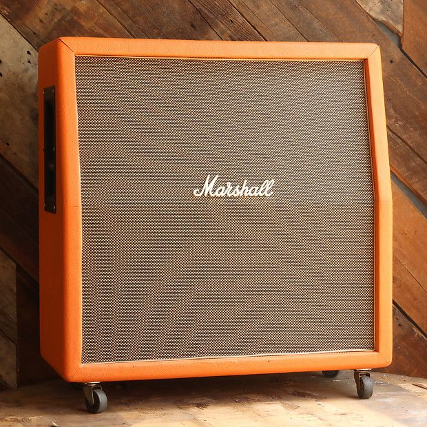 Vintage 1969 Marshall 4x12 cab  Recovered in orange tolex  Speakers