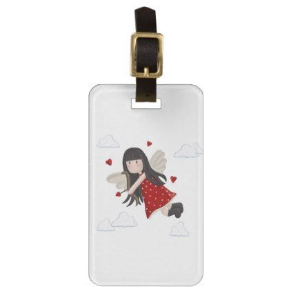 Cupid girl luggage tag  $11.60  by Moma_Art_Shop  - cyo customize personalize unique diy idea