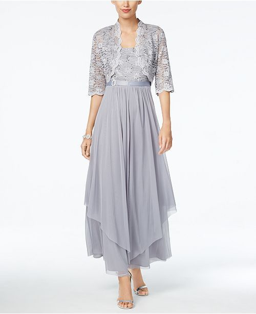 eaebdc2f R & M Richards R&M Richards Sequined Lace Belted Gown and Jacket & Reviews  - Dresses - Women - Macy's