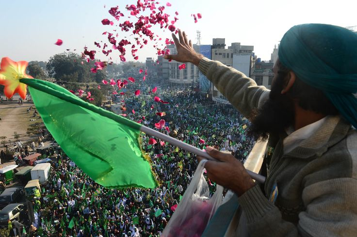 Pakistani Muslim showers rose petals over a procession to mark the Eid Milad-un-Nabi (Birth of the Prophet) festival in Lahore.