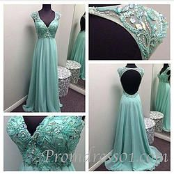 #promdress01 prom dresses - elegant beaded green chiffon v-neck backless halter prom dress for teens, graduation dress, ball gown #coniefox #2016prom