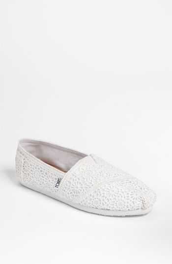 reception shoes - TOMS 'Classic' Crochet Slip-On (Women) available at #Nordstrom #Nordstromweddings