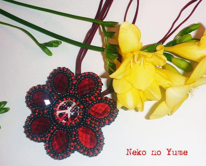 Beads embroidery necklace, pendant - Akai Hana