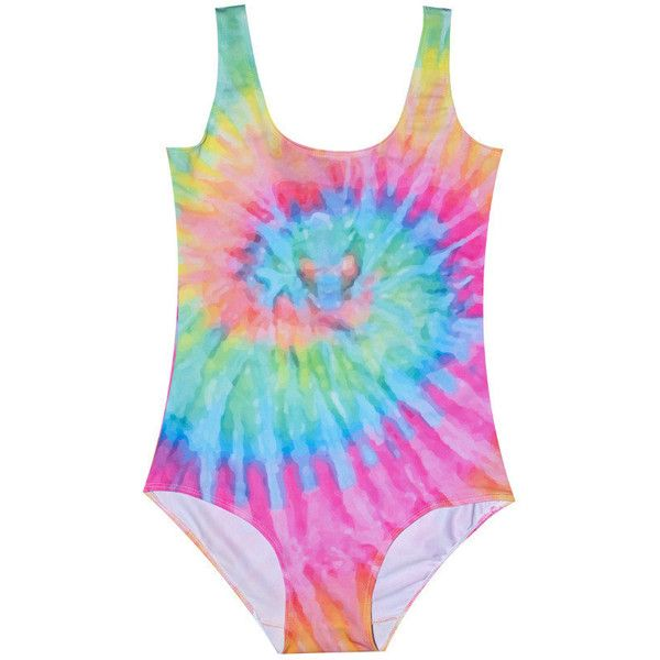 Tie Dye Swimsuit Bodysuit Womens Ladies Girls Top T Shirt Tumblr... (€16) ❤ liked on Polyvore featuring swimwear, silver, women's clothing, tie dye bathing suit, retro bathing suits, swimming costume, beach wear y swimsuits