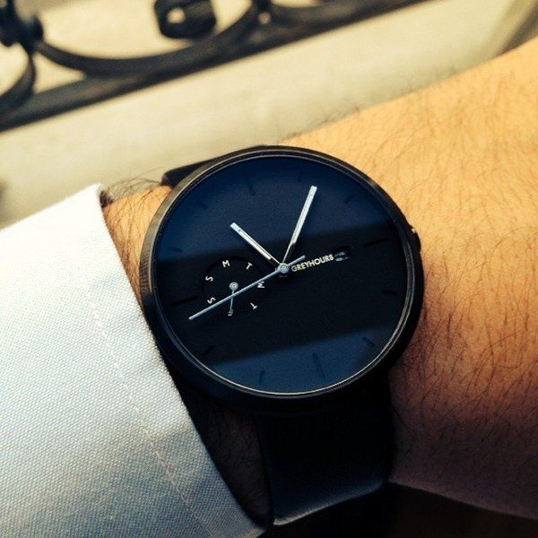 Greyhours Essential Black Watch / The Essential Black Watch designed by Julien Gueuning for Greyhours is a classic that stands apart as a unique breed while still embodying the best of today's popular culture and watchmaking technology. http://thegadgetflow.com/portfolio/greyhours-essential-black-watch/