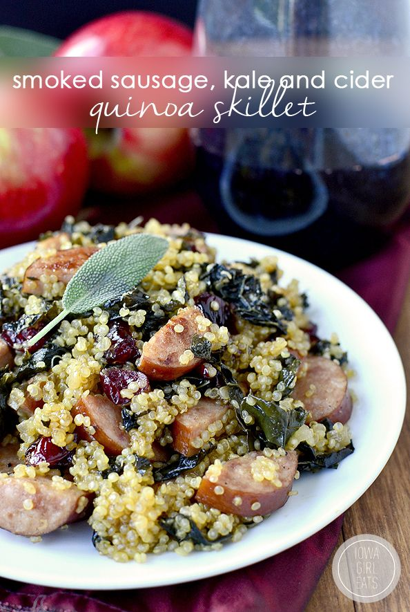 Smoked Sausage, Kale and Cider Quinoa Skillet is simple, full of hearty fall flavors, and made in just one skillet. | iowagirleats.com