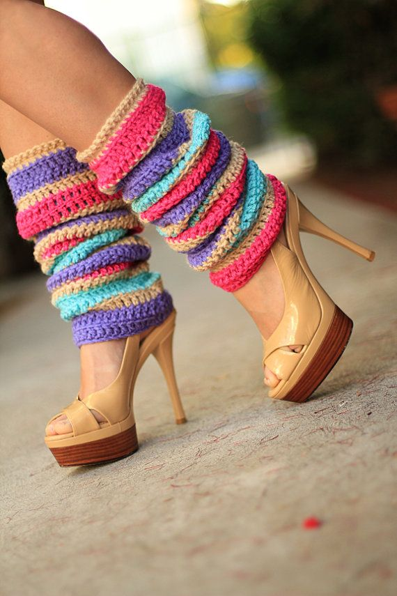 Fashion Leg Warmers Flower Blossom Stripes by mademoisellemermaid, $85.00
