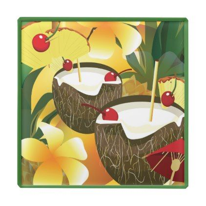 #Coconut Tiki Bar Luau Tropical Glass Coaster - cyo customize do it yourself diy