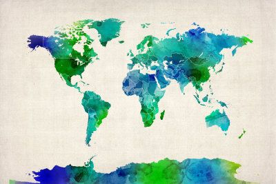Watercolor Map of the World Map - Michael Tompsett