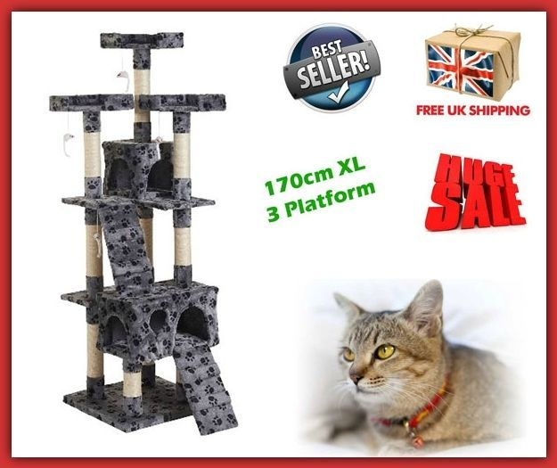 Large Cat Trees Tower Scratching Post Kitty Activity Centre Pet Toy Furniture HQ