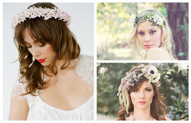 acconciatura con fiori matrimonio capelli sciolti