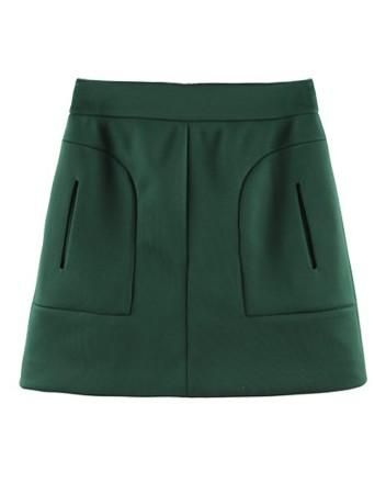 Green OL Mini Skirt #sheinside