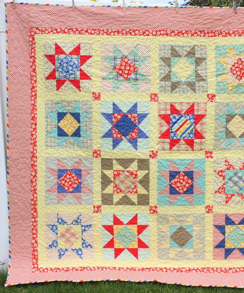 Seaside Stars Quilt pattern by Amy Smart | The best sewing patterns for women, girls, toys and more. Go To Patterns & Co.: Cute Quilts, Quilts Blog, Seaside Stars, Large Stars, Stars Patterns, Patterns Pdf, Quilts Ideas, Stars Quilts Patterns, Amy Smart