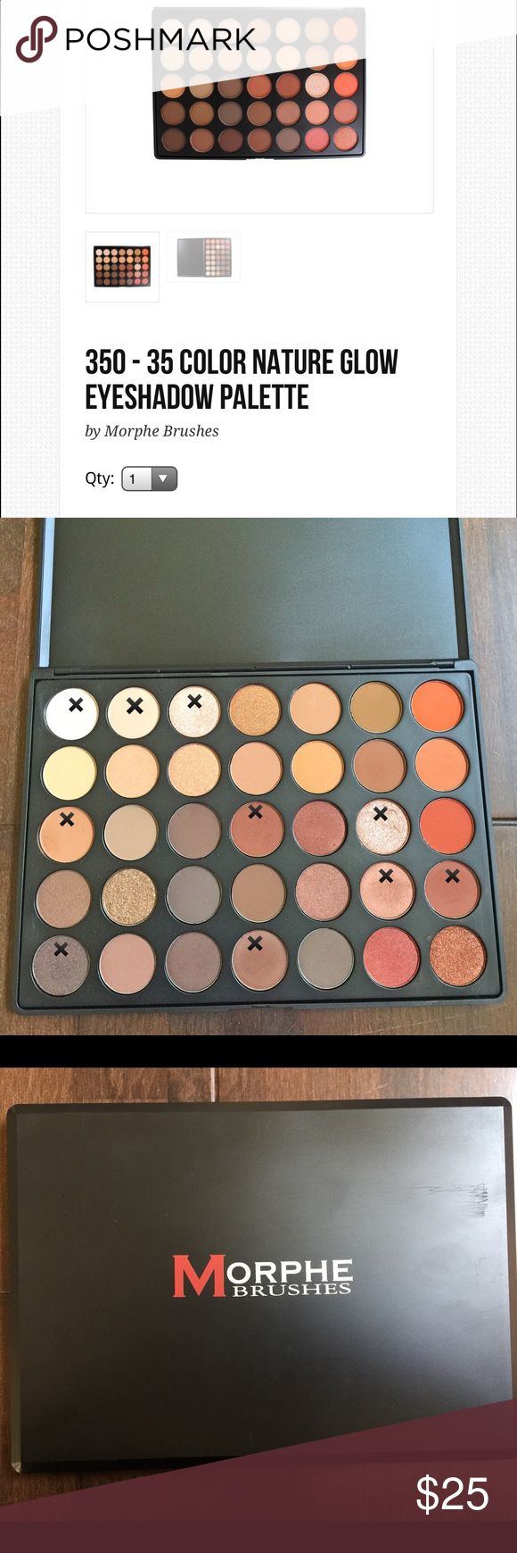 """Morphe 35O Morphes 35O Palette is such a Hot Seller that I'm selling my second one. I've only used this for swatches. I'm a freelance MUA and makeup product hygiene must be top priority. I've never dipped unclean or used brushes in this palette nor did I use fingers. All the colors that have been swatched are marked with an """"X"""" and I use the one time eyeshadow applicators to swatch. Morphe Makeup Eyeshadow"""