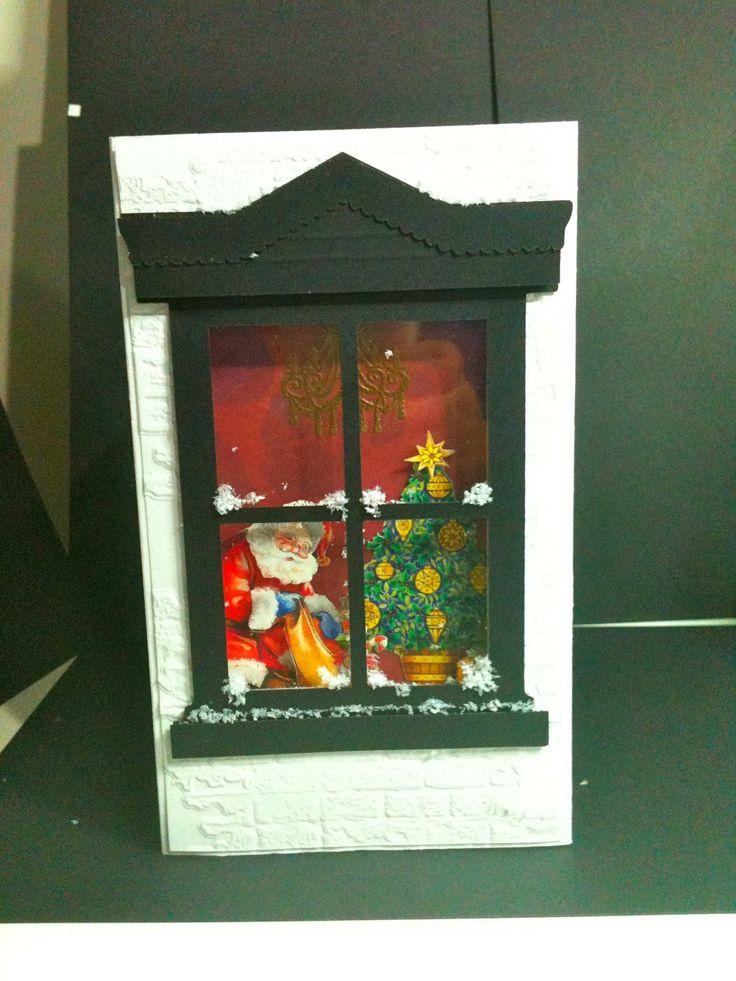 Recycled Christmas Cards, Flower Soft, Snow, Santa, Tree, Silhouette Cameo, Window, Cuttlebug, Tim Holtz, Sizzix, Alterations, Bricks, Fussy Cut