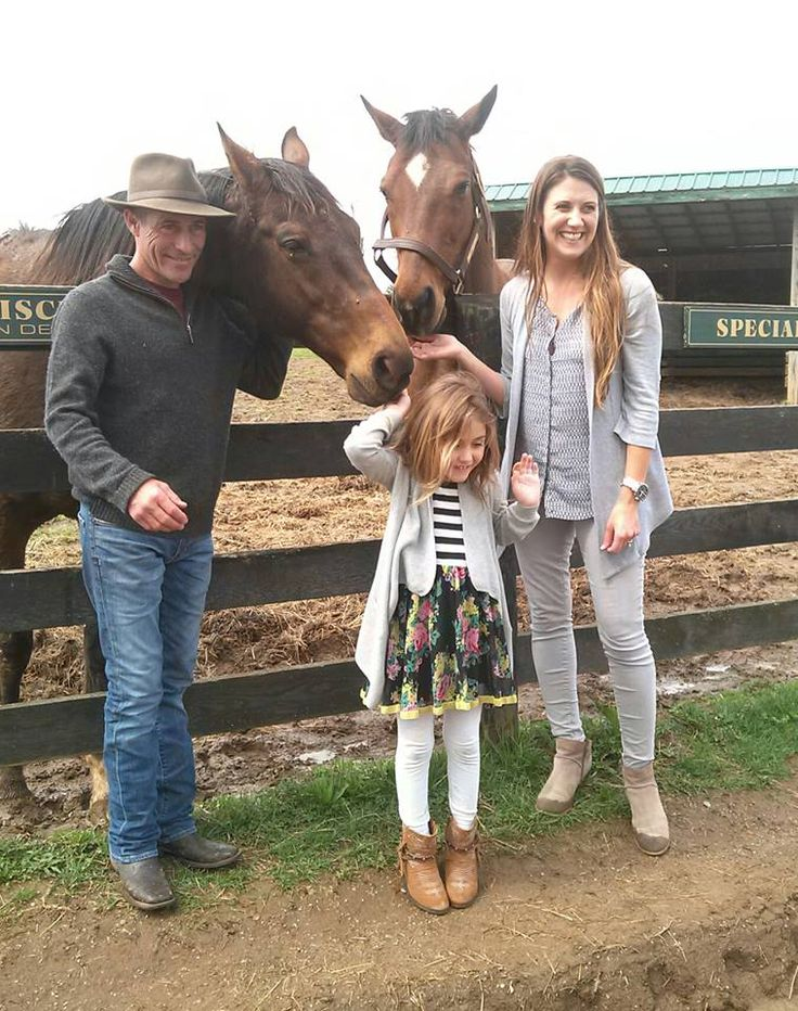 Jockey Gary Stevens and family when they visited Old Friends in Kentucky.