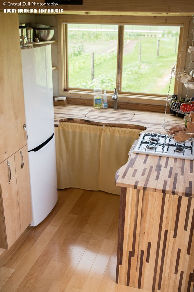 Pequod Kitchen By Rocky Mountain Tiny Houses. Hole Thru Ceiling, Roof  Leaks, Warped Siding, Etc. Not Good Advertising For Rocky Mountain Tiny  Houses!