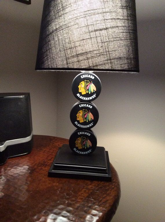 Chicago Blackhawks Hockey Puck Lamp on Etsy, $65.00