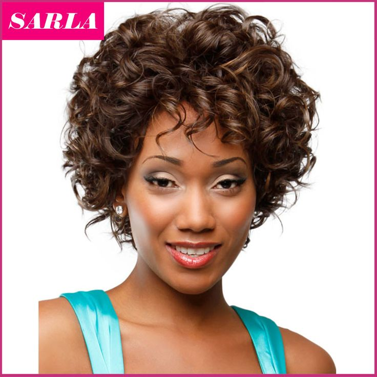 1pc Short Natural Wig Curly Wigs Synthetic For African American Black Women Curl Kanekalon Fiber U Part Wig