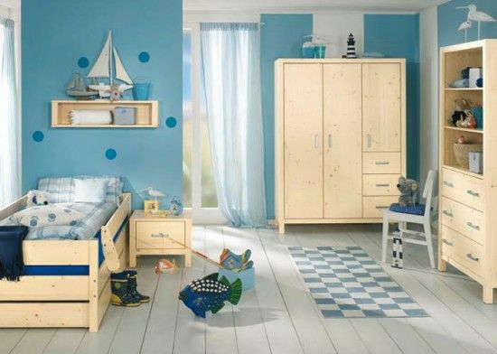 Epic Fresh Blue Colours Children rooms Pinetta bed in solid natural coloured spruce from PAIDI