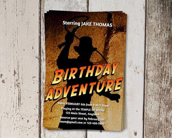 Invitation for Indiana Jones Themed Birthday Party Instant