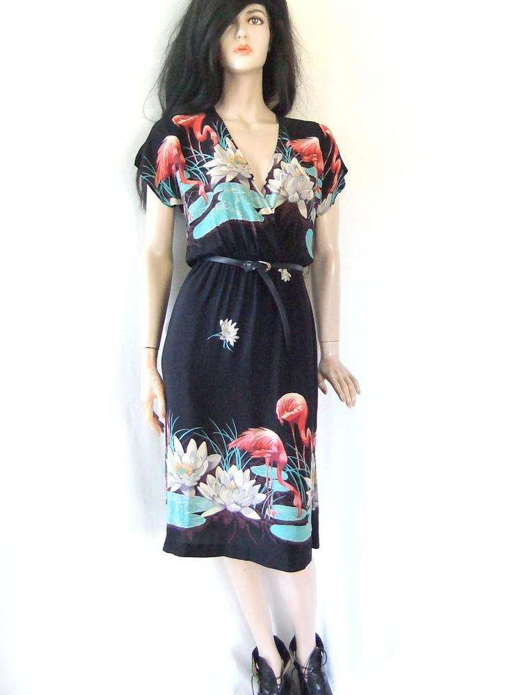70s hawaiin dress pink flamingo dress flowered by vintage2049, $44.00