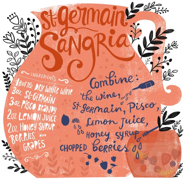 Backyard Cocktail Party Recipes: St-Germain Sangria by Oh So Beautiful Paper, Illustration by Dinara Mirtalipova