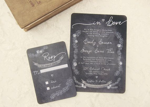 Chalkboard Wedding Invitations  Chalk It Up Love by DaysGoneDesign, $50.00