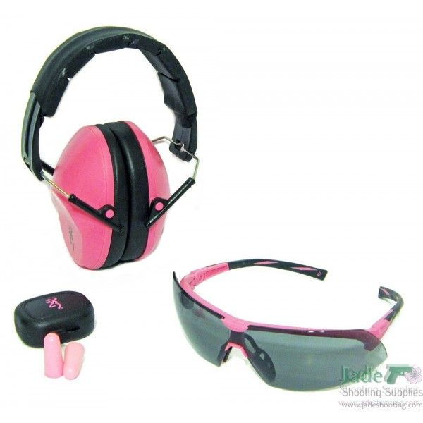 The Browning Range Kit for Her includes pink hearing protection ear muffs, pink shooting glasses, and pink soft foam ear plugs with a case.