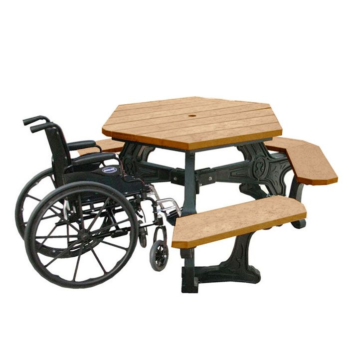Cambridge Hexagonal Wheelchair Accessible Picnic Table | Picnic Tables |  Upbeat.com
