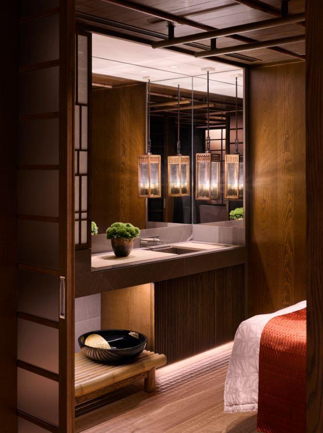 Spa treatment room at the Four Seasons Kyoto by HBA Design.