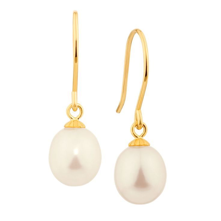 Drop Earrings with Cultured Freshwater Pearl in 10ct Yellow Gold - might look like something she's already got.