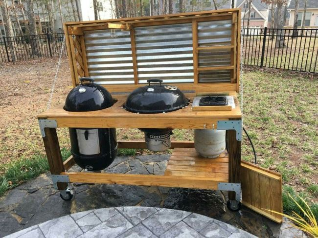 Pin By Julie Cap Linger On Smoker Grill Outdoor Kitchen In 2019 Outdoor Grill Station Bbq Table Outdoor Grill Area