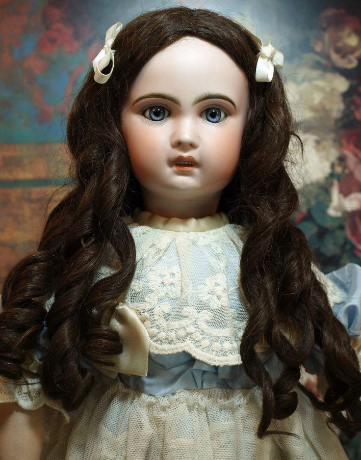 Antique Jumeau Bebe 12 -Fabulous Antique Wig with Beautiful Antique French Lace Dress ♥♥