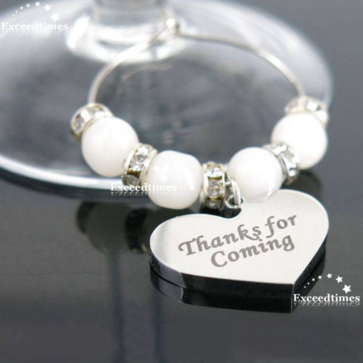 Personalised Wine Glass Charms Heart Weddings Favours Special Occasions Supplies #Unbranded #WeddingDiningBarKitchenParty
