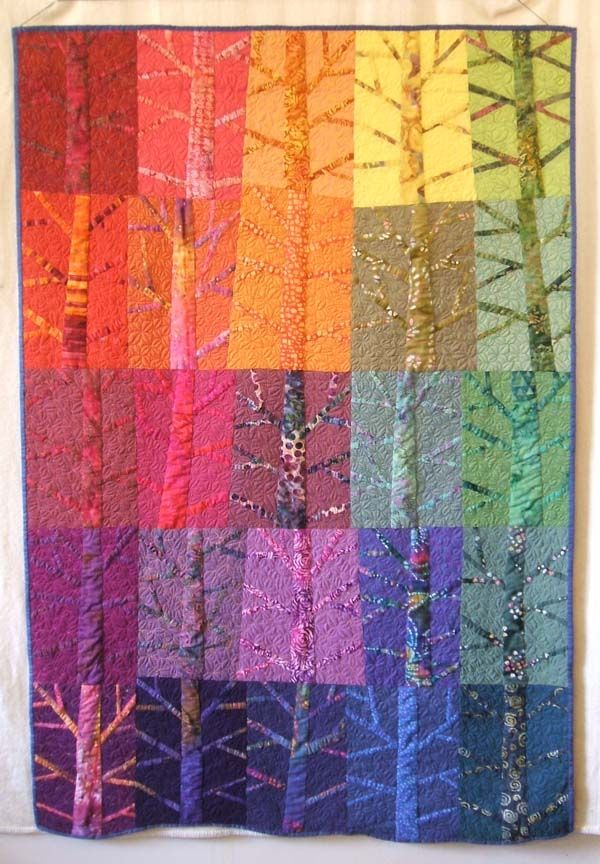 Twelve Trees by Helen Howes | Quilters Guild - nice idea, remember chopping up designs in college.