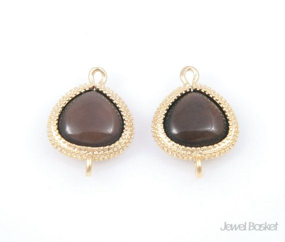 - Metted Gold Frame (Tarnish Resistant) - Smoky Quartz Color Gemstone - Brass and Glass / 14mm x 18mm - 2pcs / 1pack