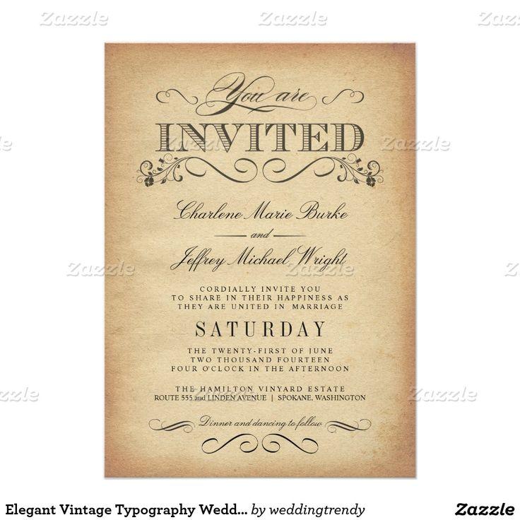 "Elegant Vintage Typography Wedding Invitations 5"" X 7"" Invitation Card"